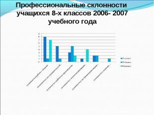 Профессиональные склонности учащихся 8-х классов 2006- 2007 учебного года