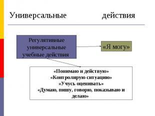 Универсальные учебные действия Регулятивные универсальные учебные действия «Пони