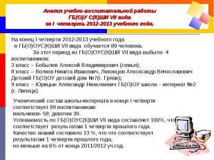 Анализ учебно-воспитательной работы ГБ(О)У С(К)ШИ VII вида за I четверть 2012-20