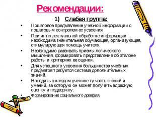 Рекомендации: Слабая группа: Пошаговое предъявление учебной информации с пошагов
