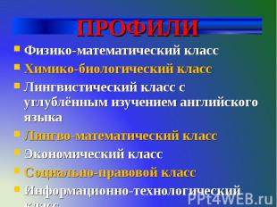 ПРОФИЛИ Физико-математический класс Химико-биологический класс Лингвистический к