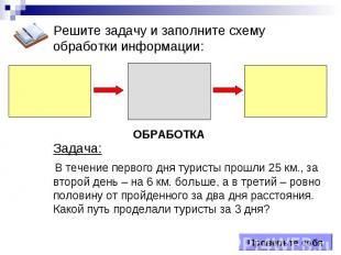 ОБРАБОТКА Проверьте себя Решите задачу и заполните схему обработки информации: З