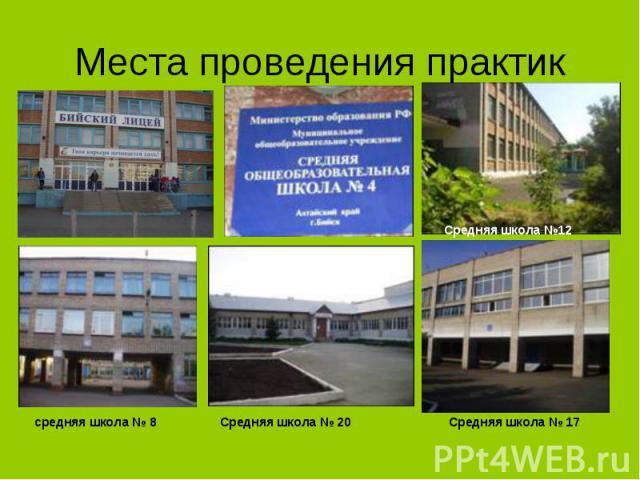 средняя школа № 8 Средняя школа №12 Средняя школа № 20 Средняя школа № 17 Места проведения практик