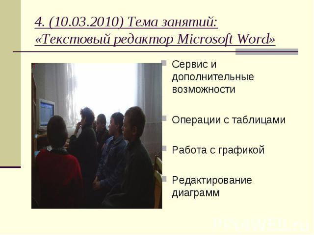 4. (10.03.2010) Тема занятий: «Текстовый редактор Microsoft Word» Сервис и дополнительные возможности Операции с таблицами Работа с графикой Редактирование диаграмм