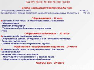 для ВУС 46100, 461100, 461200, 461300 Военно-специальная подготовка-322 часа Осн
