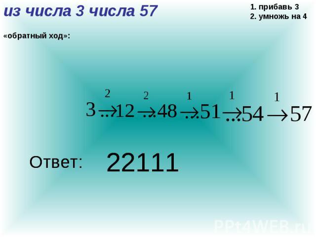 из числа 3 числа 57 «обратный ход»: 1. прибавь 3 2. умножь на 4 22111 Ответ: 22111 Ответ: