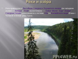 Реки принадлежат бассейнам Северного Ледовитого океана (на западном склоне — Печ
