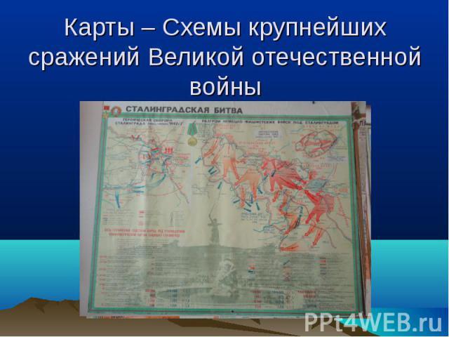 Карты – Схемы крупнейших сражений Великой отечественной войны