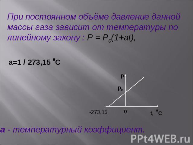 -273,15 p p0 0 t, 0C При постоянном объёме давление данной массы газа зависит от температуры по линейному закону : P = P0(1+at), a=1 / 273,15 0C a - температурный коэффициент.
