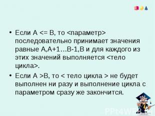 Если А В, то < тело цикла > не будет выполнен ни разу и выполнение цикла с парам