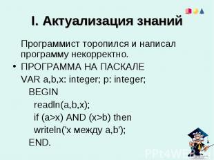 I. Актуализация знаний Программист торопился и написал программу некорректно. ПР