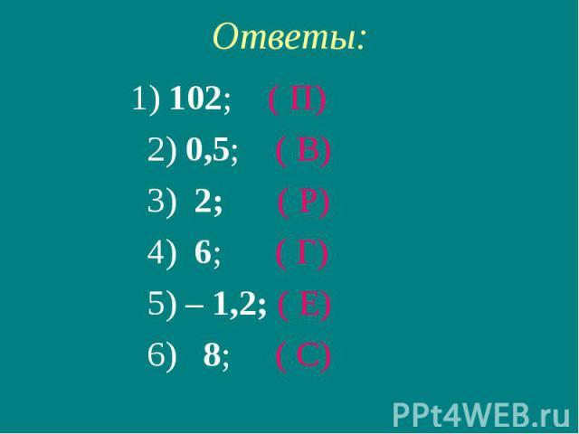 Ответы: 1) 102; ( П) 2) 0,5; ( В) 3) 2; ( Р) 4) 6; ( Г) 5) – 1,2; ( Е) 6) 8; ( С)
