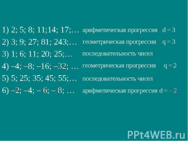 арифметическая прогрессия d = 3 арифметическая прогрессия d = – 2 геометрическая прогрессия q = 3 последовательность чисел геометрическая прогрессия q = 2 последовательность чисел 1) 2; 5; 8; 11;14; 17;… 2) 3; 9; 27; 81; 243;… 3) 1; 6; 11; 20; 25;… …