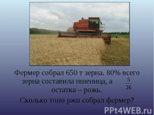 Фермер собрал 650 т зерна. 80% всего зерна составила пшеница, а остатка – рожь.