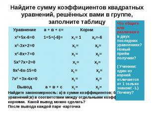 Найдите сумму коэффициентов квадратных уравнений, решённых вами в группе, заполн