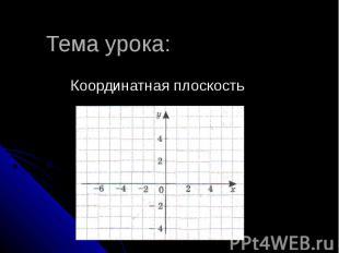 Тема урока: Координатная плоскость