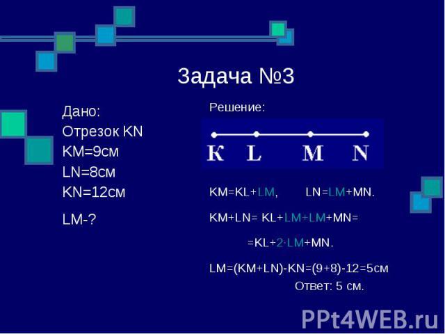 Задача №3 Решение: KM=KL+LM, LN=LM+MN. KM+LN= KL+LM+LM+MN= =KL+2∙LM+MN. LM=(KM+LN)-KN=(9+8)-12=5см Ответ: 5 см. Дано: Отрезок KN KM=9см LN=8см KN=12см LM-?