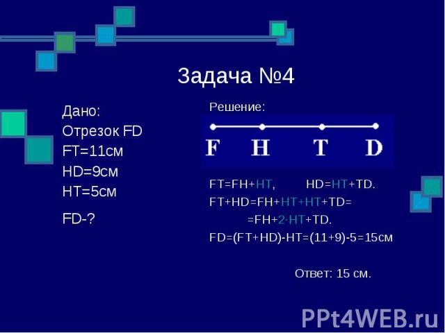 Задача №4 Решение: FT=FH+HT, HD=HT+TD. FT+HD=FH+HT+HT+TD= =FH+2∙HT+TD. FD=(FT+HD)-HT=(11+9)-5=15см Ответ: 15 см. Дано: Отрезок FD FT=11см HD=9см HT=5см FD-?: