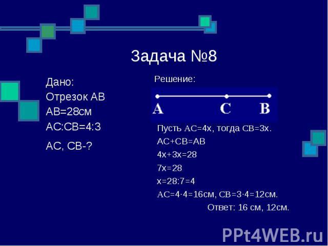 Задача №8 Решение: Пусть AC=4x, тогда CB=3x. AC+CB=AB 4x+3x=28 7x=28 x=28:7=4 AC=4∙4=16см, CB=3∙4=12см. Ответ: 16 см, 12см. Дано: Отрезок AB AB=28см AC:CB=4:3 AC, CB-?