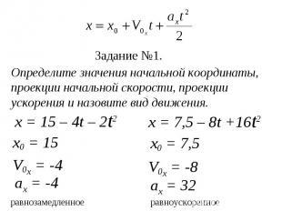 x = 15 – 4t – 2t2 x = 7,5 – 8t +16t2 х0 = 15 V0x = -4 V0x = -8 аx = -4 Определит