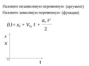 x ax 2 Назовите независимую переменную t = x0 + V0x t + t (аргумент) ) 2 0 х t Н