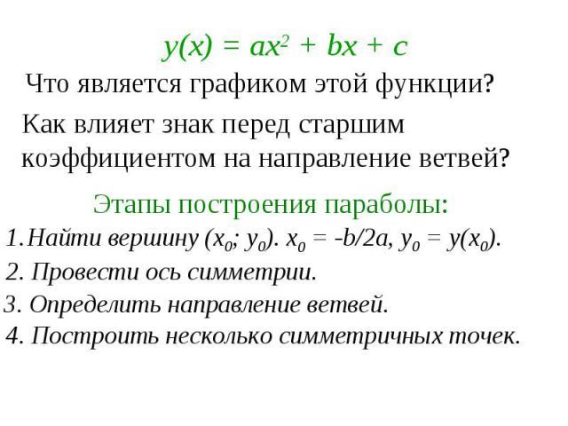 Что является графиком этой функции? Как влияет знак перед старшим коэффициентом на направление ветвей? Этапы построения параболы: Найти вершину (х0; у0). х0 = -b/2a, y0 = y(x0). 2. Провести ось симметрии. 3. Определить направление ветвей. 4. Построи…