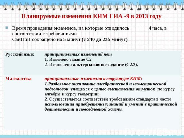Планируемые изменения КИМ ГИА -9 в 2013 году Время проведения экзаменов, на которые отводилось 4 часа, в соответствии с требованиями СанПиН сокращено на 5 минут (с 240 до 235 минут) Русский язык принципиальных изменений нет 1. Изменено задание С2. 2…