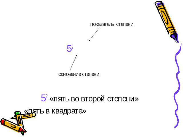 показатель степени 52 основание степени 52 «пять во второй степени» «пять в квадрате»