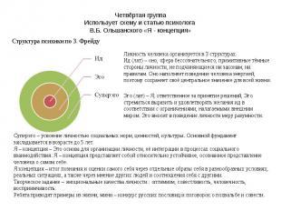 Четвёртая группа Использует схему и статью психолога В.Б. Ольшанского «Я - конце