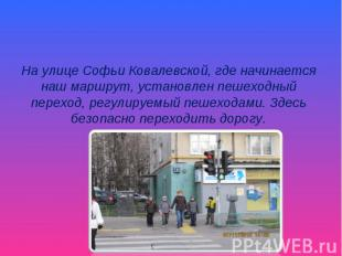 На улице Софьи Ковалевской, где начинается наш маршрут, установлен пешеходный пе