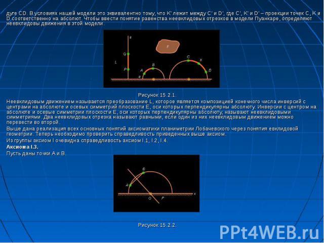 дуге CD. В условиях нашей модели это эквивалентно тому, что K\' лежит между C\' и D\', где C\', K\' и D\' – проекции точек C, K и D соответственно на абсолют. Чтобы ввести понятие равенства неевклидовых отрезков в модели Пуанкаре, определяют неевкли…
