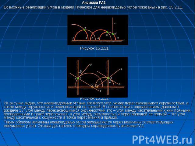 Аксиома IV.2. Возможные реализации углов в модели Пуанкаре для неевклидовых углов показаны на рис. 15.2.11. Рисунок 15.2.11. Рисунок 15.2.12. Из рисунка видно, что неевклидовыми углами являются угол между пересекающимися окружностями, а также между …