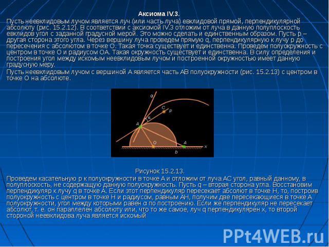 Аксиома IV.3. Пусть неевклидовым лучом является луч (или часть луча) евклидовой прямой, перпендикулярной абсолюту (рис. 15.2.12). В соответствии с аксиомой IV.3 отложим от луча в данную полуплоскость евклидов угол с заданной градусной мерой. Это мож…