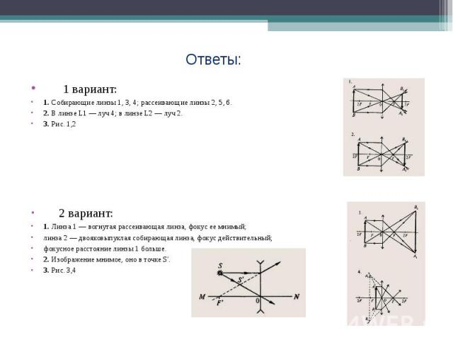 Ответы: 1 вариант: 1. Собирающие линзы 1, 3, 4; рассеивающие линзы 2, 5, 6. 2. В линзе L1 — луч 4; в линзе L2 — луч 2. 3. Рис. 1,2 2 вариант: 1. Линза 1 — вогнутая рассеивающая линза, фокус ее мнимый; линза 2 — двояковыпуклая собирающая линза, фокус…