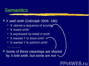 Semantics X said smth (Zaliznjak 2006: 186) 'X uttered a sequence of sounds' 'X