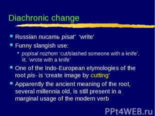 Diachronic change Russian писать pisat' 'write' Funny slangish use: popisal nozh