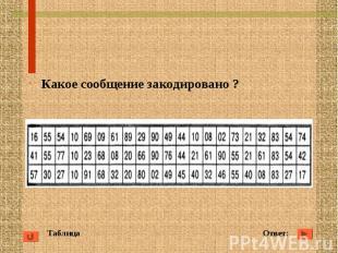 Таблица Ответ: Какое сообщение закодировано ?