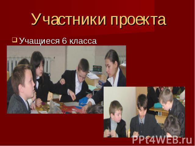 Участники проекта Учащиеся 6 класса