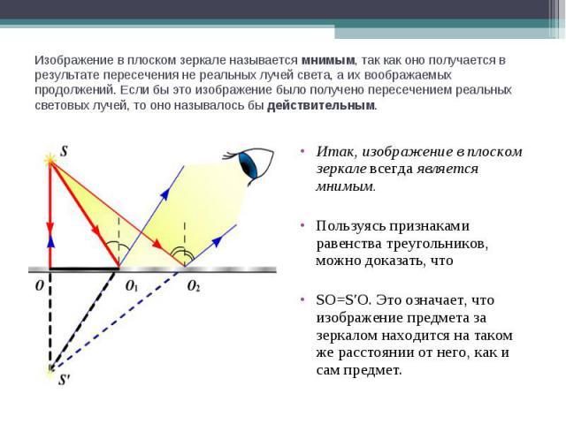 Изображение в плоском зеркале называется мнимым, так как оно получается в результате пересечения не реальных лучей света, а их воображаемых продолжений. Если бы это изображение было получено пересечением реальных световых лучей, то оно называлось бы…
