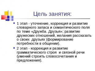 Цель занятия: 1 этап - уточнение, коррекция и развитие словарного запаса и семан