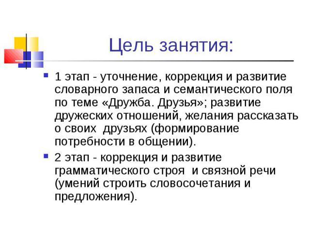 Цель занятия: 1 этап - уточнение, коррекция и развитие словарного запаса и семантического поля по теме «Дружба. Друзья»; развитие дружеских отношений, желания рассказать о своих друзьях (формирование потребности в общении). 2 этап - коррекция и разв…