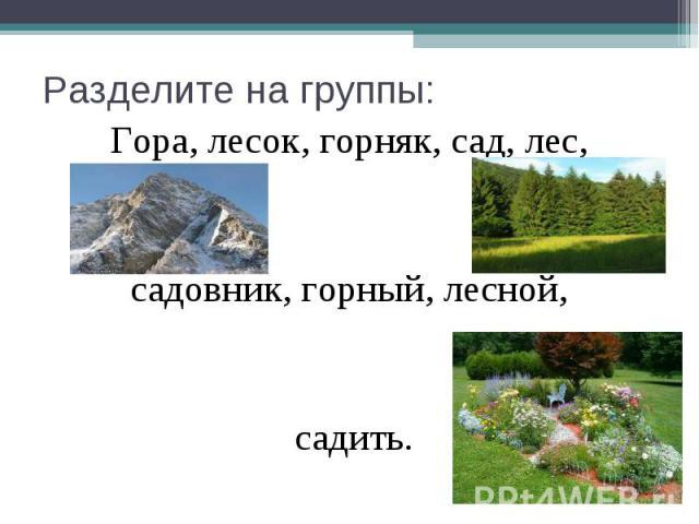 Разделите на группы: Гора, лесок, горняк, сад, лес, садовник, горный, лесной, садить.