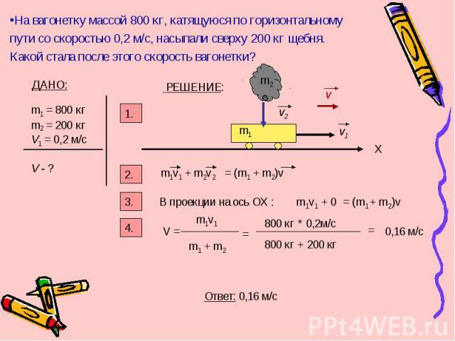 На вагонетку массой 800 кг, катящуюся по горизонтальному пути со скоростью 0,2 м/с, насыпали сверху 200 кг щебня. Какой стала после этого скорость вагонетки? ДАНО: m1 = 800 кг m2 = 200 кг V1 = 0,2 м/с V - ? РЕШЕНИЕ: 1. v2 v1 v 2. m1 m2 m1v1 X 3. В п…