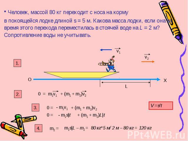 Человек, массой 80 кг переходит с носа на корму в покоящейся лодке длиной s = 5 м. Какова масса лодки, если она за время этого перехода переместилась в стоячей воде на L = 2 м? Сопротивление воды не учитывать. О Х v2 v1 1. 2. L 0 = m1v1 + (m1 + m2)v…