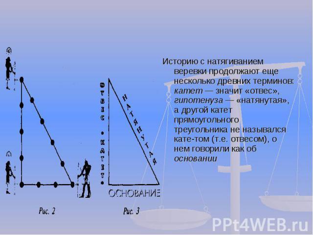 Историю с натягиванием веревки продолжают еще несколько древних терминов: катет значит «отвес», гипотенуза «натянутая», а другой катет прямоугольного треугольника не назывался катетом (т.е. отвесом), о нем говорили как об основании
