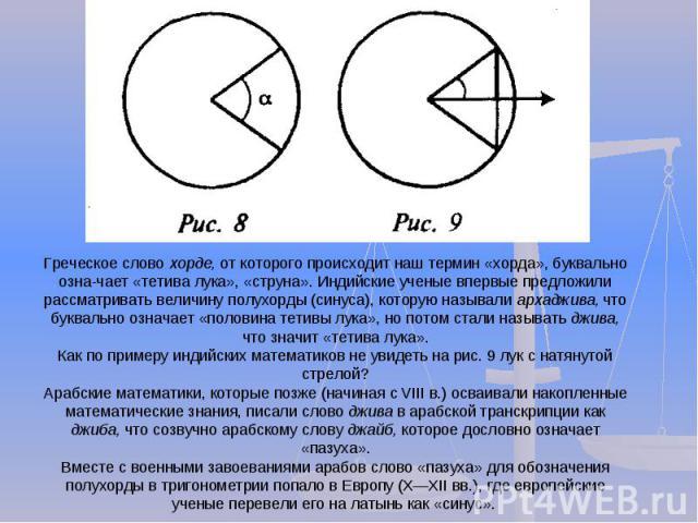 Греческое слово хорде, от которого происходит наш термин «хорда», буквально означает «тетива лука», «струна». Индийские ученые впервые предложили рассматривать величину полухорды (синуса), которую называли архаджива, что буквально означает «половина…