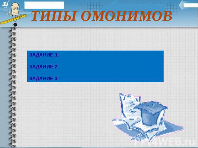 ТИПЫ ОМОНИМОВ ЗАДАНИЕ 1. ЗАДАНИЕ 2. ЗАДАНИЕ 3.