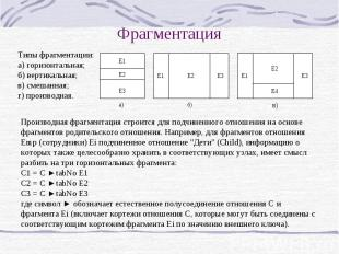 Фрагментация Типы фрагментации: а) горизонтальная; б) вертикальная; в) смешанная