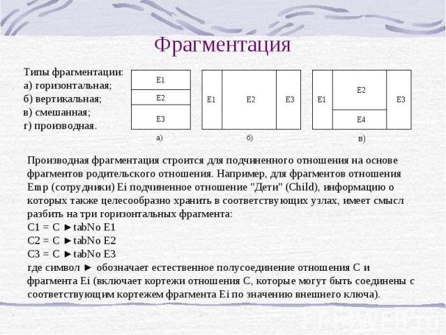 Фрагментация Типы фрагментации: а) горизонтальная; б) вертикальная; в) смешанная; г) производная. Производная фрагментация строится для подчиненного отношения на основе фрагментов родительского отношения. Например, для фрагментов отношения Emp (сотр…