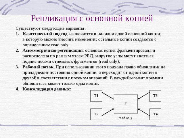 Репликация с основной копией Существуют следующие варианты: 1.Классический подход заключается в наличии одной основной копии, в которую можно вносить изменения; остальные копии создаются с определением read only. 2.Асимметричная репликация: основная…